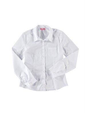 Beyaz Düz Uzun Kollu Gömlek -4K1482Z6-G00