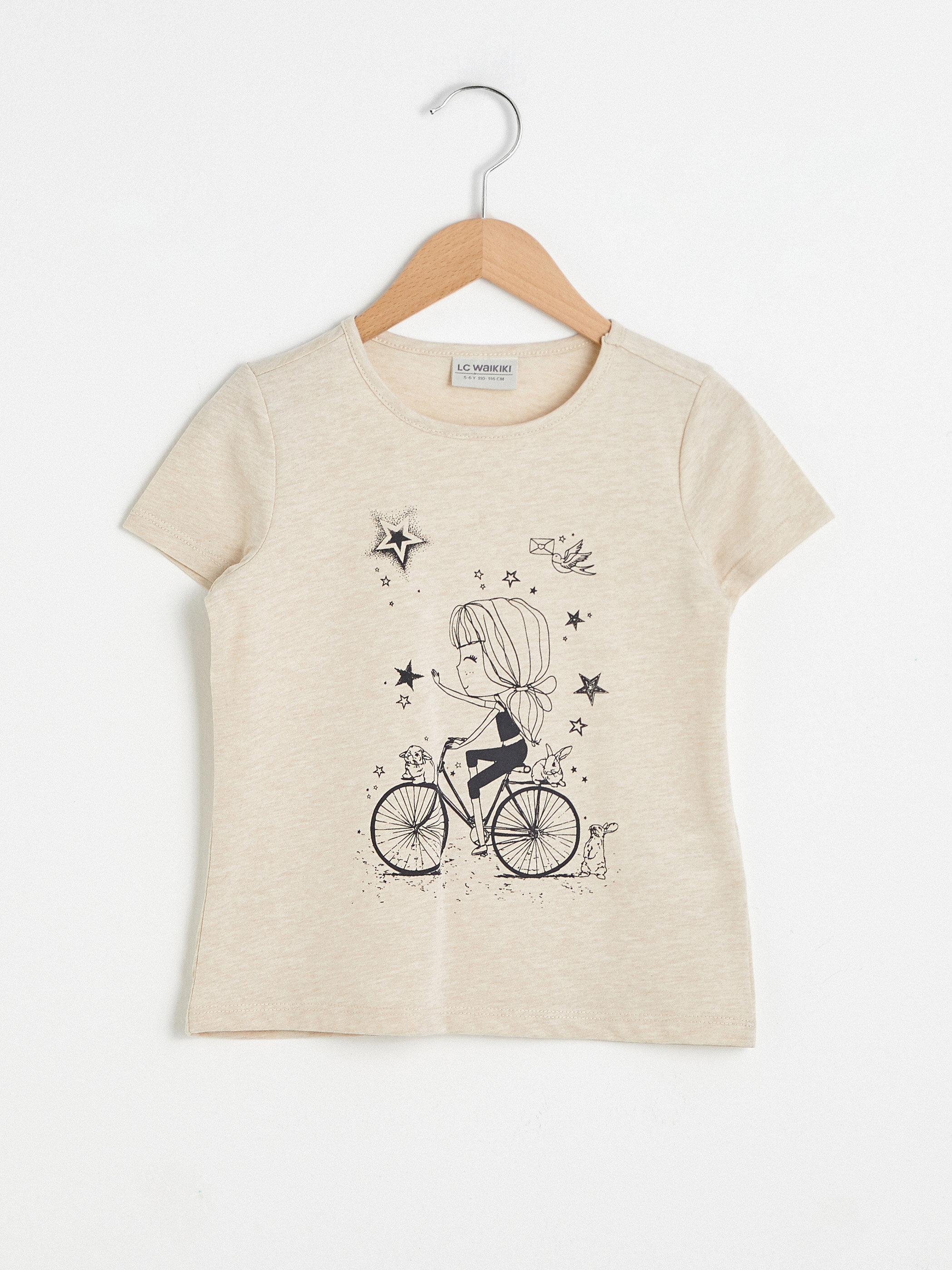 Bisiklet Yaka Baskılı Uzun Kollu Kız Çocuk Tişört - LC WAIKIKI