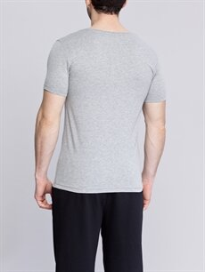 %46 Pamuk %50 Polyester %4 Elastan Standart İç Giyim Üst V Yaka Fanila