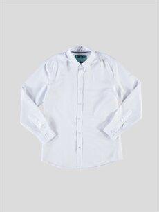 %60 Pamuk %40 Polyester Dar Uzun Kol Düz Beyaz Düz Dar Uzun Kollu Gömlek