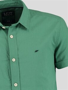 %100 Pamuk Kısa Kol Düz Dar Yeşil Düz Dar Kısa Kollu LCW Young Gömlek