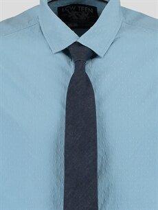 Genç Erkek Mavi Düz Dar Uzun Kollu Gömlek