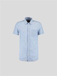 Mavi Mavi Düz Kısa Kollu Gömlek 6YB344Z6 LC Waikiki
