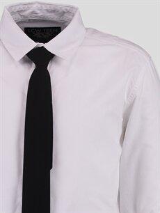 Genç Erkek Beyaz Düz Dar Uzun Kollu Gömlek