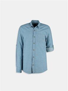 Mavi Mavi Düz Uzun Kollu LCW Young Gömlek 6YD689Z6 LC Waikiki