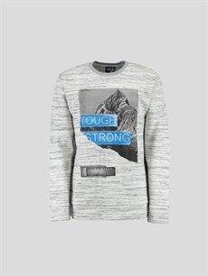 Gri Baskılı Sweatshirt 6YE374Z6 LC Waikiki