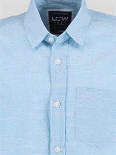 %100 Pamuk Kısa Kol Düz Dar Mavi Düz Dar Kısa Kollu Gömlek