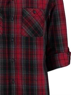Erkek Kırmızı Kareli Dar Uzun Kollu LCW Young Gömlek