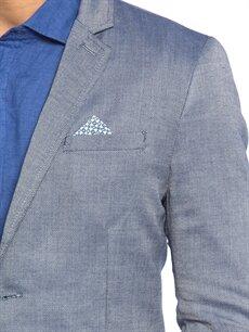 %67 Polyester %33 Viskon Mavi Kısa Dar Ceket