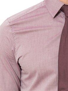 LC Waikiki Bordo Slim Fit Armürlü Uzun Kollu Poplin Gömlek