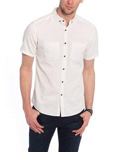 Beyaz Beyaz Düz Kısa Kollu Gömlek 7YG236Z8 LC Waikiki