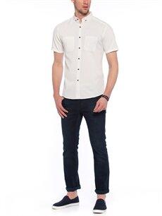 Genç Erkek Beyaz Düz Kısa Kollu Gömlek