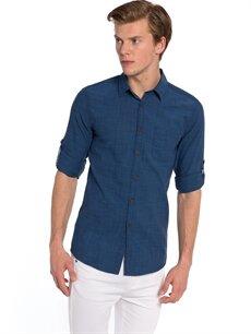 Mavi Mavi Düz Uzun Kollu Gömlek 7YK155Z8 LC Waikiki