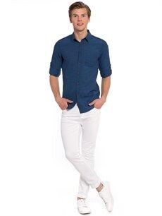 Genç Erkek Mavi Düz Uzun Kollu Gömlek