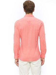 %100 Pamuk Düz Uzun Kol Kırmızı Düz Uzun Kollu Gömlek