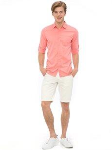 Genç Erkek Kırmızı Düz Uzun Kollu Gömlek