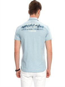 %100 Pamuk Dar Düz Kısa Kol Jean Gömlek