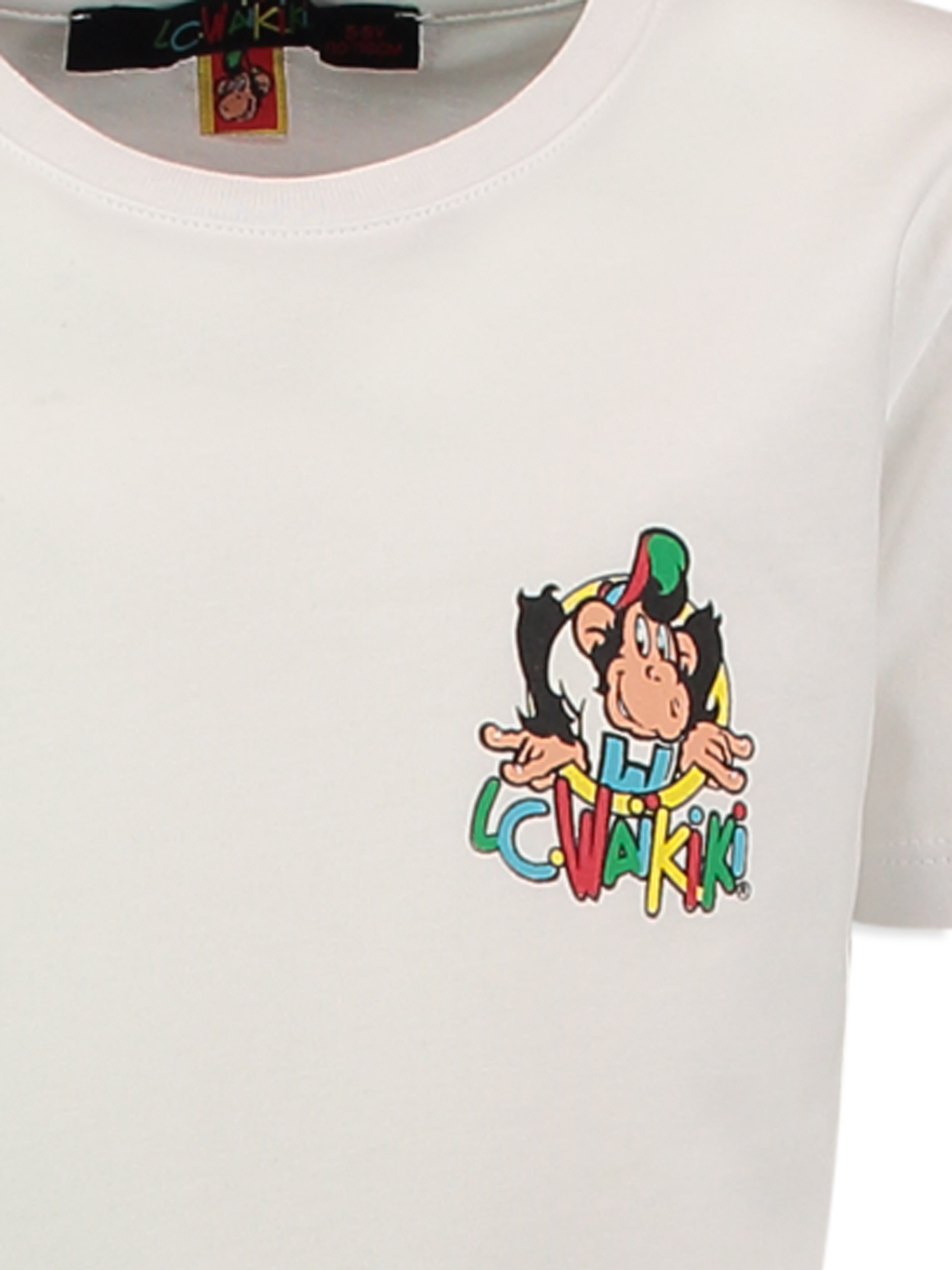 Beyaz Normal Nostaljik Maymun Baskılı Tişört -7YA134Z4-JYX