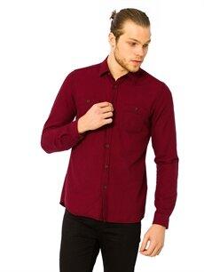 Kırmızı Kaz Ayağı Desenli Gabardin Gömlek 7K7866Z8 LC Waikiki