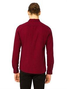 %100 Pamuk Düz Uzun Kol Dar Kaz Ayağı Desenli Gabardin Gömlek