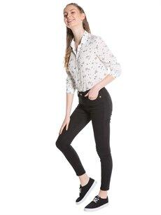 Genç Kız Siyah Desenli Uzun Kollu Gömlek