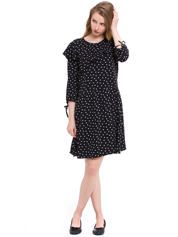 Volan Detaylı Kolları Bağcıklı Elbise - LC WAIKIKI