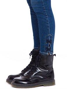 %99 Pamuk %1 Elastan Bağlama Detaylı Bilek Boy Skinny Jean Pantolon