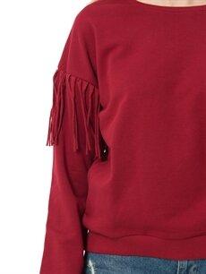 %68 Pamuk %32 Polyester Omuzları Püskül Detaylı Sweatshirt