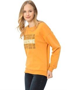 Turuncu Yazı Baskılı Sweatshirt 7KB875Z8 LC Waikiki