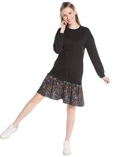 Siyah Çiçek Desenli Sweatshirt Elbise 7KC459Z8 LC Waikiki