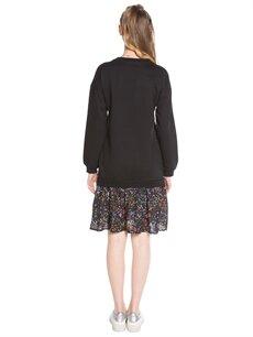 %100 Pamuk Diz Üstü Desenli Çiçek Desenli Sweatshirt Elbise
