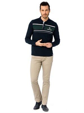 Çizgili Polo Yaka Uzun Kollu Pike Tişört -8S0268Z8-DWP