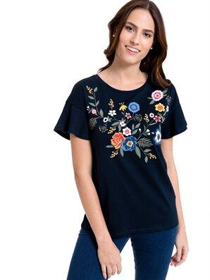 Çiçek Nakışlı Pamuklu Tişört Lc Waikiki Lcw 8s7454z8 – E1j – Lacivert – 26.95 TL
