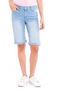 %79 Pamuk %20 Polyester %1 Elastan Normal Bel Esnek Şort Super Slim Jean Bermuda