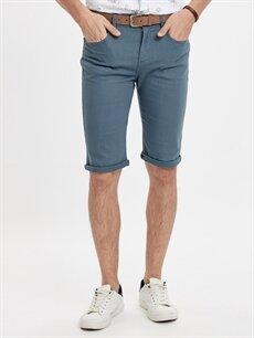 %98 Pamuk %2 Elastan Roller Jean Görünümlü Bermuda Şort ve Kemer