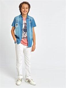 Mavi Baskılı Jean Gömlek 8SG233Z4 LC Waikiki