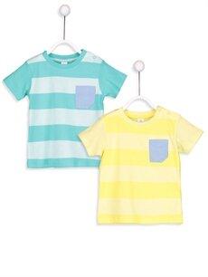 Yeşil Erkek Bebek Çizgili Tişört 2'li 8S9025Z1 LC Waikiki
