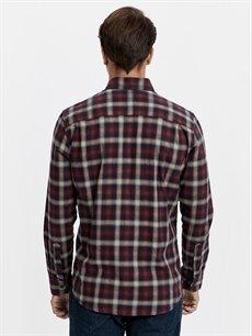 %100 Pamuk Normal Uzun Kol Ekoseli Gömlek Düğmeli Regular Fit Ekose Uzun Kollu Gabardin Gömlek