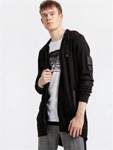 Siyah Fermuarlı Kapüşonlu Sweatshirt 8W3612Z8 LC Waikiki