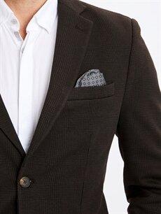 %66 Polyester %2 Elastan %32 Viskon Dar Kalıp Ekose Blazer Ceket