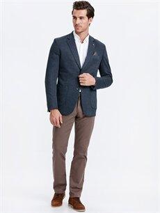 Erkek Dar Kalıp Ekose Blazer Ceket