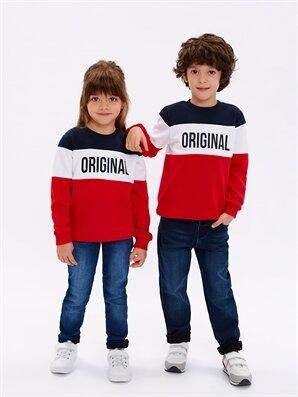 Unisex Çocuk Yazı Baskılı Sweatshirt -8WM800Z4-H1T