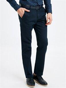 %97 Pamuk %3 Elastan Normal Bel Normal Pilesiz Pantolon Rahat Kalıp Armürlü Pantolon