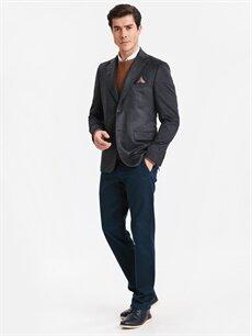 Erkek Standart Kalıp Kadife Blazer Ceket