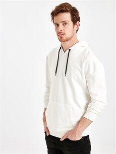Beyaz Kapüşonlu Sweatshirt 8WP032Z8 LC Waikiki
