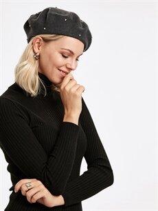 Kadın Parlak Taş İşlemeli Yün Ressam Şapka