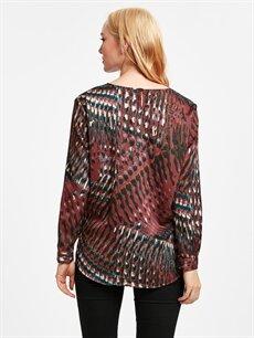 %100 Polyester Bluz Desenli Saten Bluz