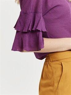 %100 Polyester Kolları Volanlı Tişört