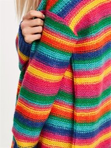 %79 Akrilik %21 Polyester Renkli Triko Kazak