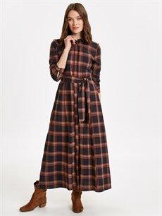 Lacivert Beli Kuşaklı Poplin Gömlek Elbise 8WN326Z8 LC Waikiki